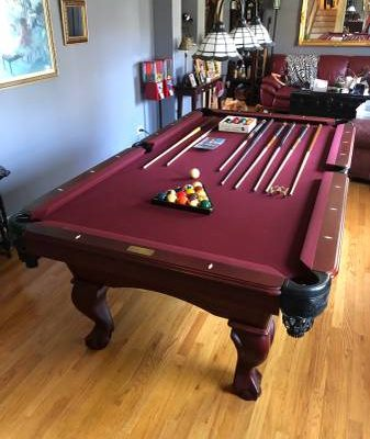 Slate Solid Wood Cherry Ball & Claw Pool Table